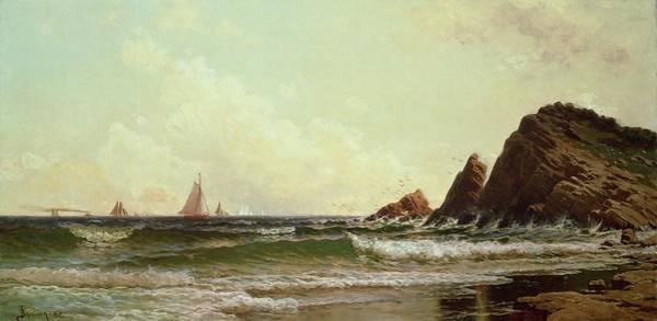 Wave Breaking Painting - Cliffs At Cape Elizabeth by Alfred Thompson Bricher