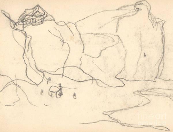 Impressionist Drawing - Cliffs Near Pourville-varengeville by Claude Monet