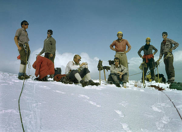 Photograph - T-802401-cclimbers On Top Of Mount Robson  by Ed  Cooper Photography
