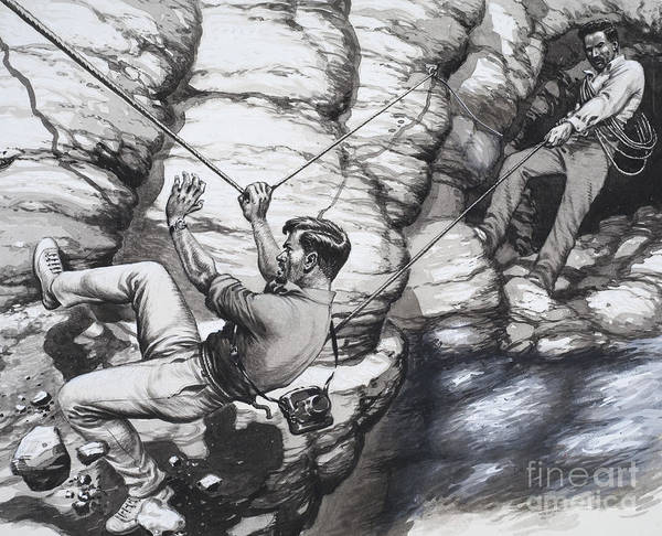 Perilous Wall Art - Painting - Climbing Archaeologists by Pat Nicolle