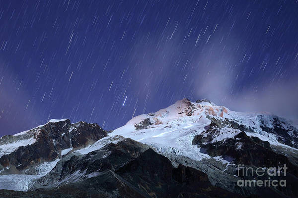Photograph - Climbing Mt Huayna Potosi By Moonlight Bolivia by James Brunker