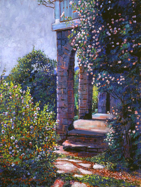 Archway Painting - Climbing Roses by David Lloyd Glover