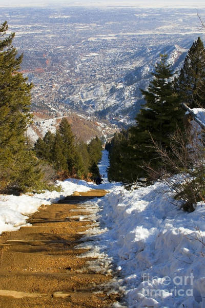 Photograph - Climbing The Manitou Incline In Wintertime by Steve Krull