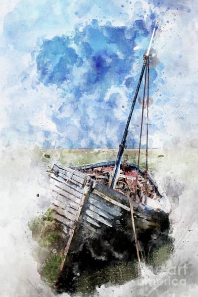 Wall Art - Digital Art - Clinker Built Boat Watercolour by John Edwards