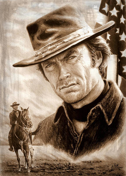 Clint Eastwood Drawing - Clint American Legend Sepia by Andrew Read