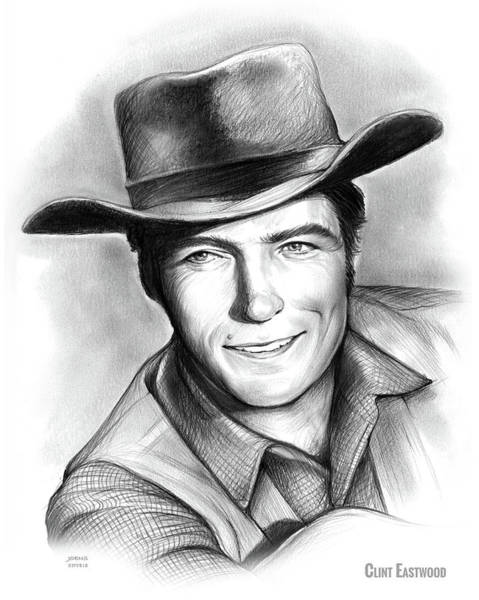 Wall Art - Drawing - Clint Eastwood 03feb18 by Greg Joens