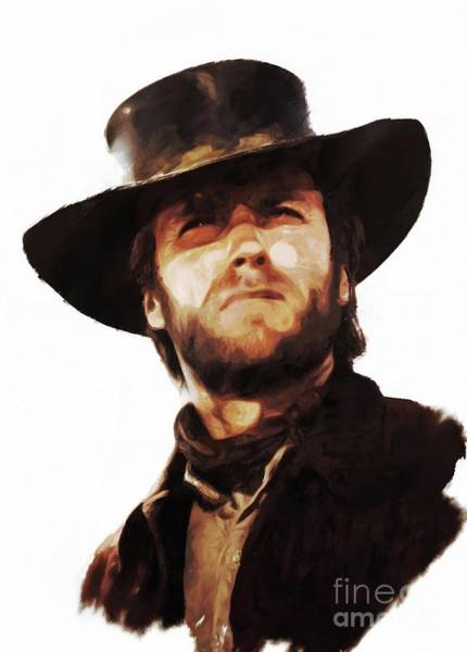 Ugly Painting - Clint Eastwood, Actor by Mary Bassett