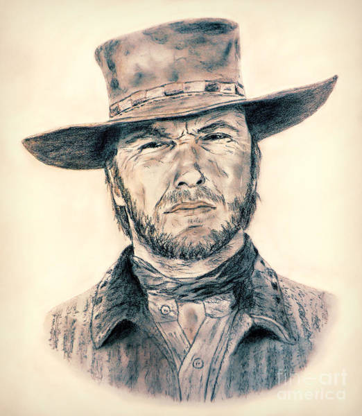 Clint Eastwood Drawing - Clint Eastwood As Blondie In The Good The Bad The Ugly by Jim Fitzpatrick