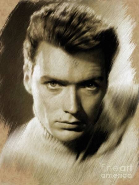 Wall Art - Painting - Clint Eastwood by Mary Bassett