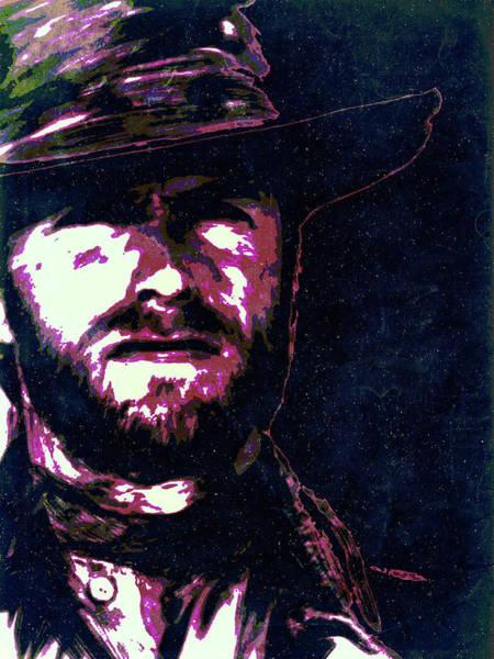Digital Art - Clint Eastwood Portrait Poster Retro Print Wall Decor by IamLoudness Studio