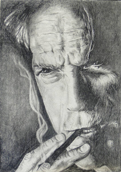 Clint Eastwood Drawing - Clint Eastwood by Stephen Sookoo