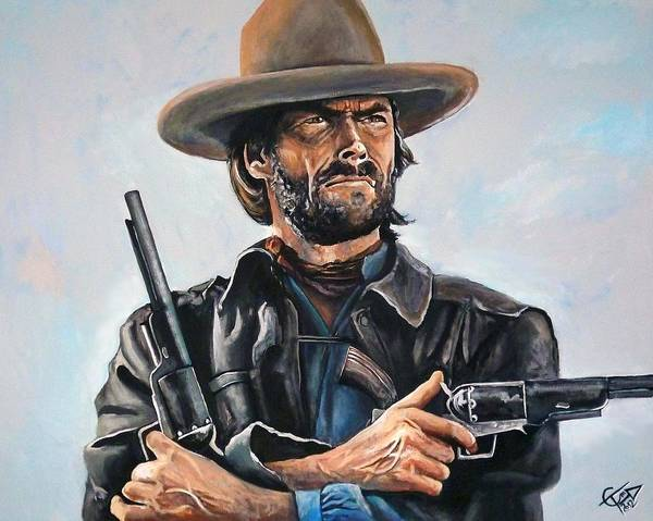 Ugly Painting - Clint Eastwood  by Tom Carlton