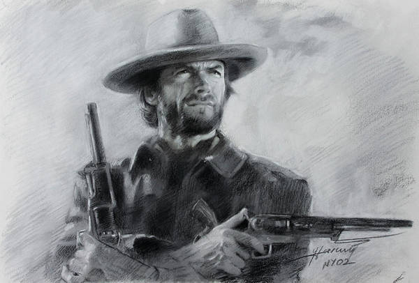 Clint Eastwood Drawing - Clint Eastwood by Viola El