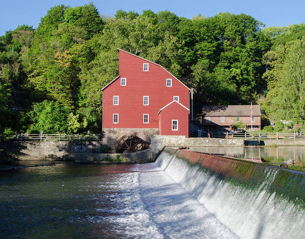 Photograph - Clinton New Jersey -the Red Mill  On The Raritan River  by Bill Cannon