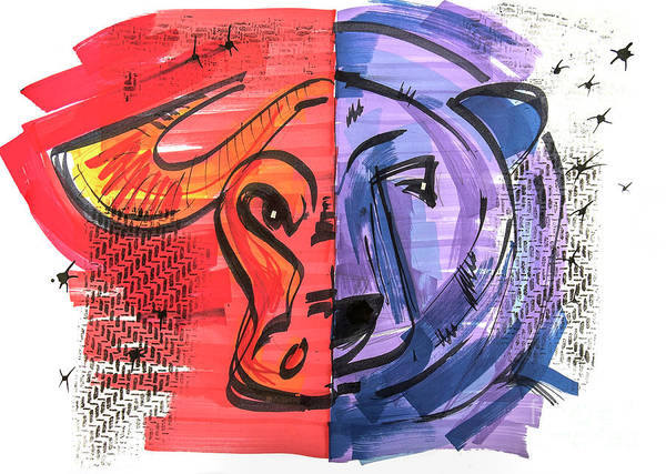 Drawing - Clip Art Of Bear And Bull Of Stock Market by Ariadna De Raadt
