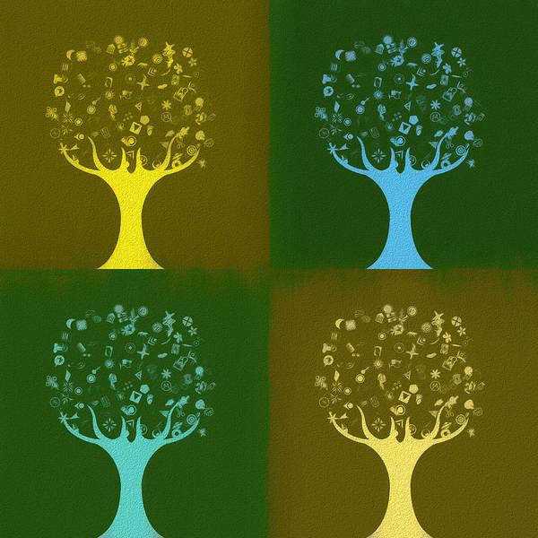 Wall Art - Mixed Media - Clip Art Trees by Dan Sproul