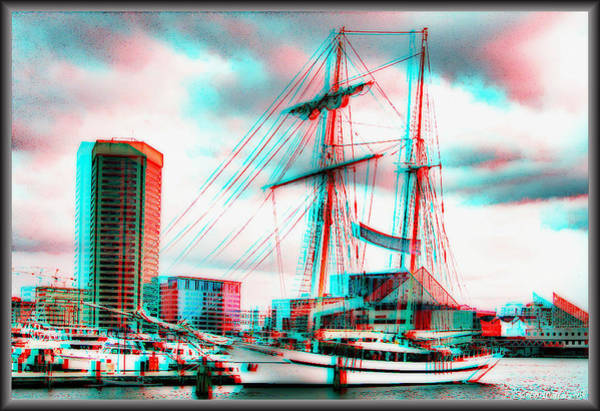 Wall Art - Photograph - Clipper City - Use Red-cyan 3d Glasses by Brian Wallace