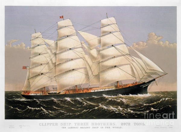 Nathaniel Photograph - Clipper Ship, 1875 by Granger