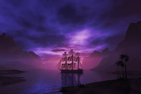 Lagoon Digital Art - Clipper Ship At Sunset II by Carol and Mike Werner