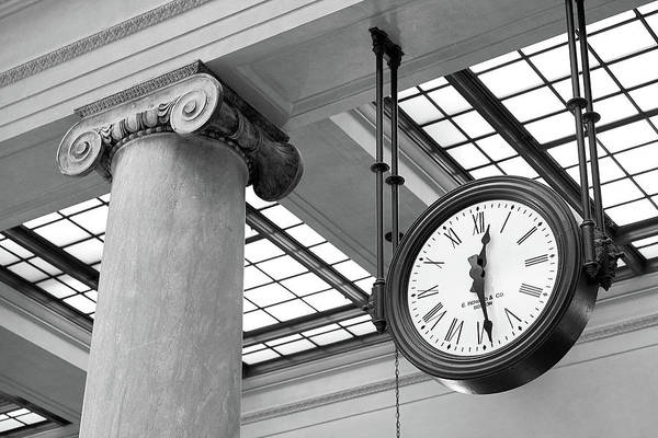 Railway Station Photograph - Clock And Column In Saint Paul Union Depot by Jim Hughes