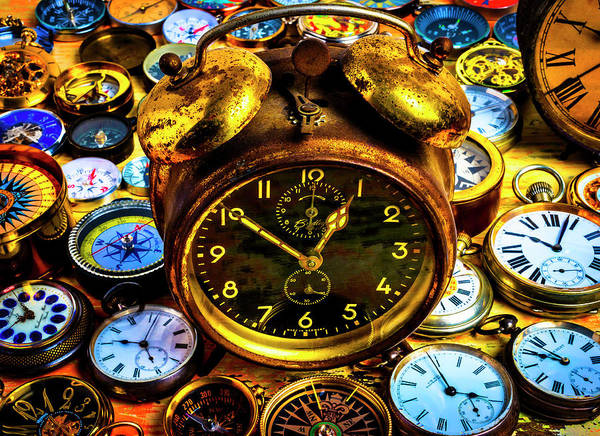 Wall Art - Photograph - Clock And Old Pocket Watches by Garry Gay