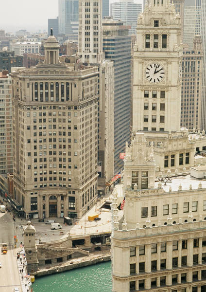 Chicago Tribune Wall Art - Photograph - Clock Tower Along A River, Wrigley by Panoramic Images