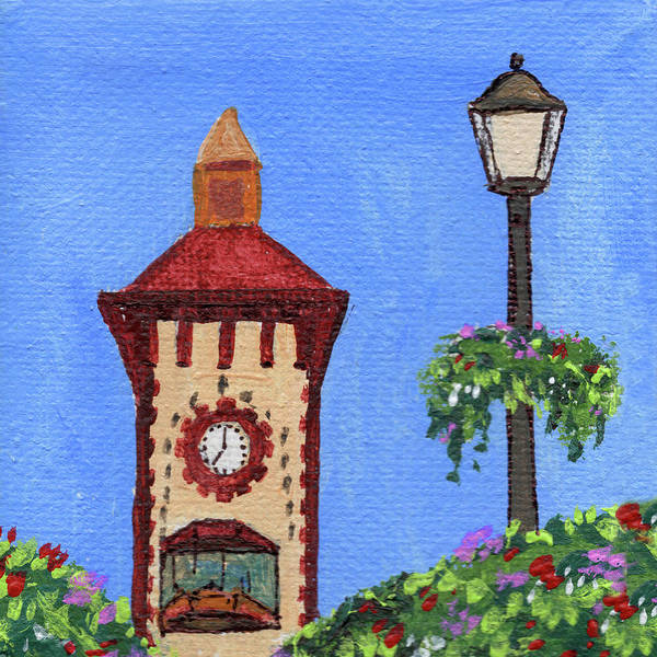 Clock Tower Painting - Clock Tower Impressionistic Landscape Xxxvii by Irina Sztukowski