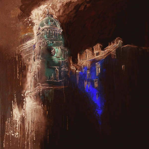 Clock Tower Painting - Clock Tower Iv by Mawra Tahreem