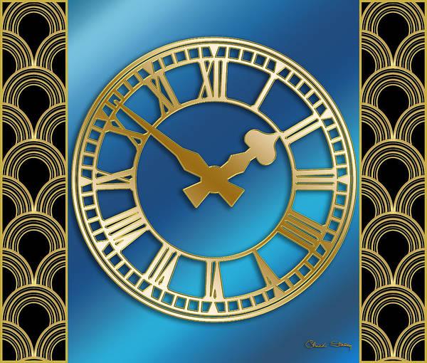 Digital Art - Clock With Border - Blue by Chuck Staley