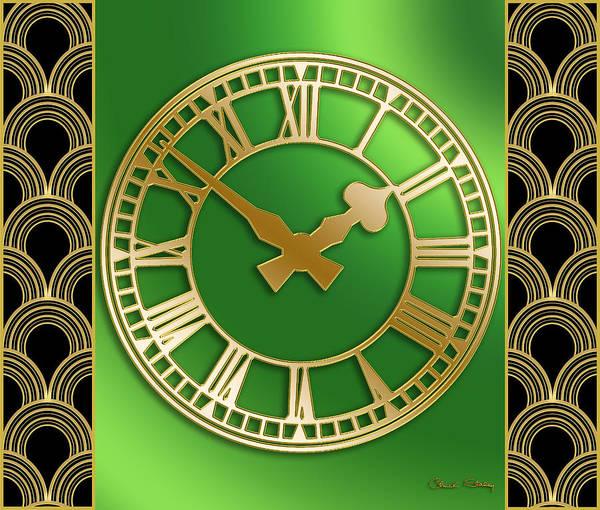 Digital Art - Clock With Border by Chuck Staley