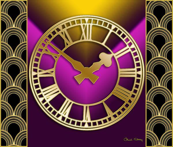 Digital Art - Clock With Border - Purple by Chuck Staley