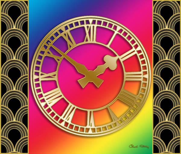 Digital Art - Clock With Border - Rainbow by Chuck Staley