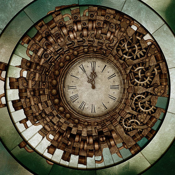 Mixed Media - Clock Works In Time Grunge Art by Isabella Howard