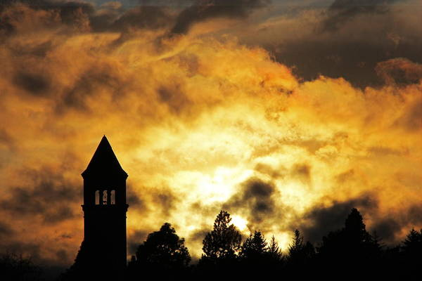 Expo 74 Photograph - Clocktower And Sky On Fire 5434 by Donald Sewell