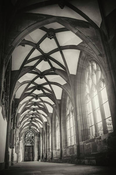 Cloister Photograph - Cloisters Of Basel Munster Switzerland In Black And White  by Carol Japp