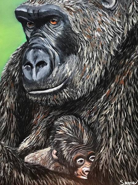 Baby Gorilla Painting - Close To My Heart by Shannon Marie Schacht