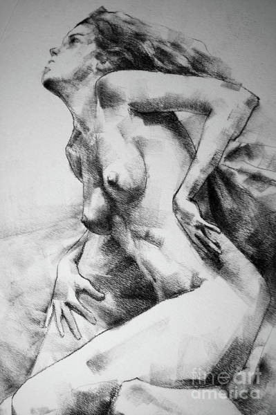 Drawing - Close-up Charcoal Drawing Leaning Pose Woman by Dimitar Hristov