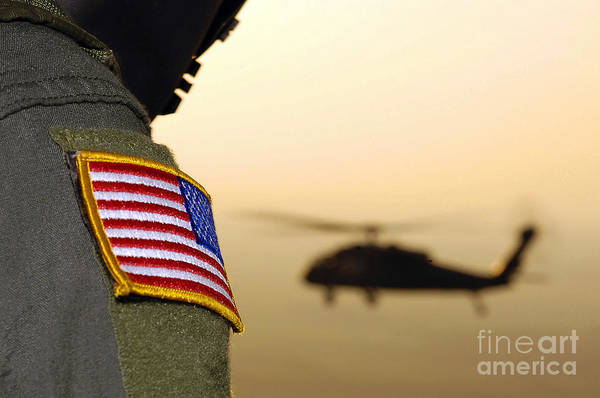 Utility Helicopter Photograph - Close-up Of A U.s. Flag Patch by Stocktrek Images