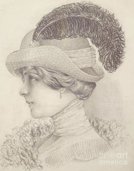 Attractive Drawing - Close-up Of A Young Woman, Austria, 1910 by Austrian School