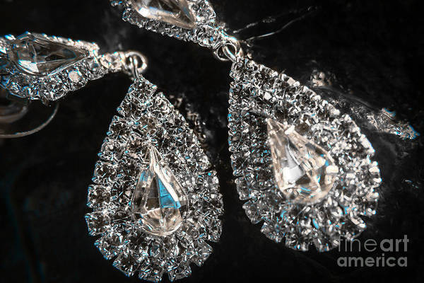 Platinum Photograph - Close-up Of Beautiful Brilliant Earrings  by Jorgo Photography - Wall Art Gallery