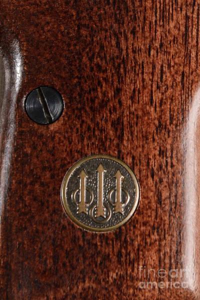 Beretta Photograph - Close Up Of Beretta Wood Grip Pistol by Jt PhotoDesign