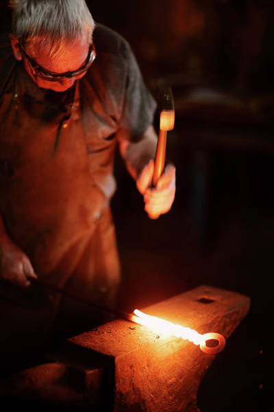 Selective Color Photograph - Close-up Of  Blacksmith Forging Hot Iron by Johan Swanepoel