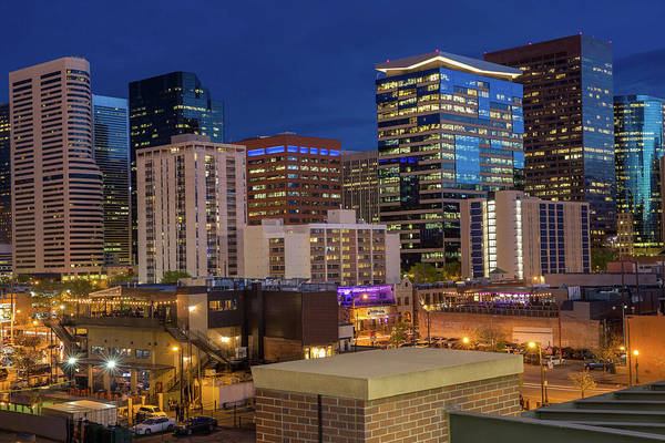 Mile High City Photograph - Close-up Of Downtown Denver Skyscrapers From Lower Downtown At Night by Bridget Calip