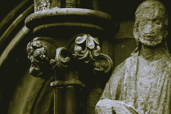 Photograph - Close Up Of Flowers In Victorian Capital Column Next To Damage S by Jacek Wojnarowski