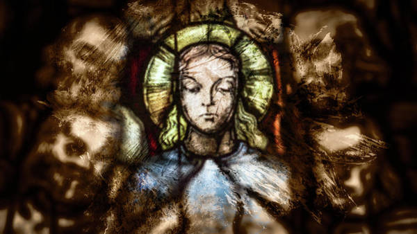 Photograph - Close Up Of Saintly Figure In Stained Glass by Jacek Wojnarowski