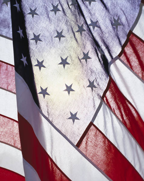 Wall Art - Photograph - Close-up Of Stars And Stripes On Flag by Gillham Studios