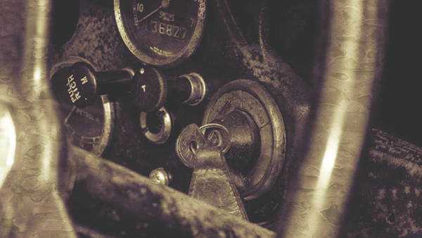 Photograph - Close Up Of Vintage Car Ignition Switch Fine Art by Jacek Wojnarowski