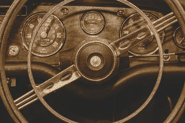 Photograph - Close Up Of Vintage Car Steering Wheel B Fine Art by Jacek Wojnarowski