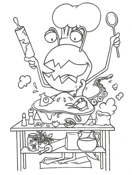 Drawing - Closet Monster Baking by Konni Jensen