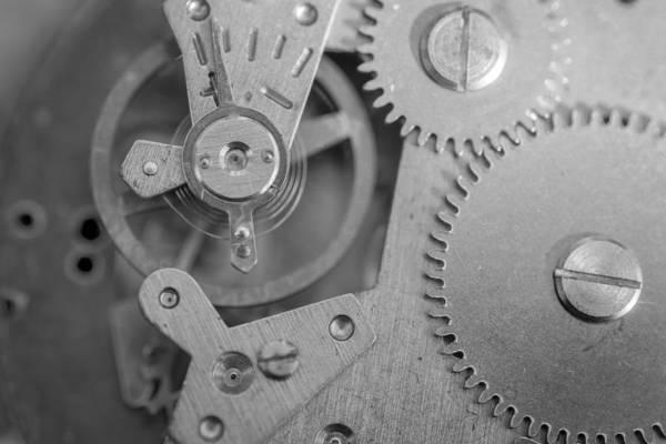 Photograph - Closeup Macro Of Clock Mechanism by John Williams